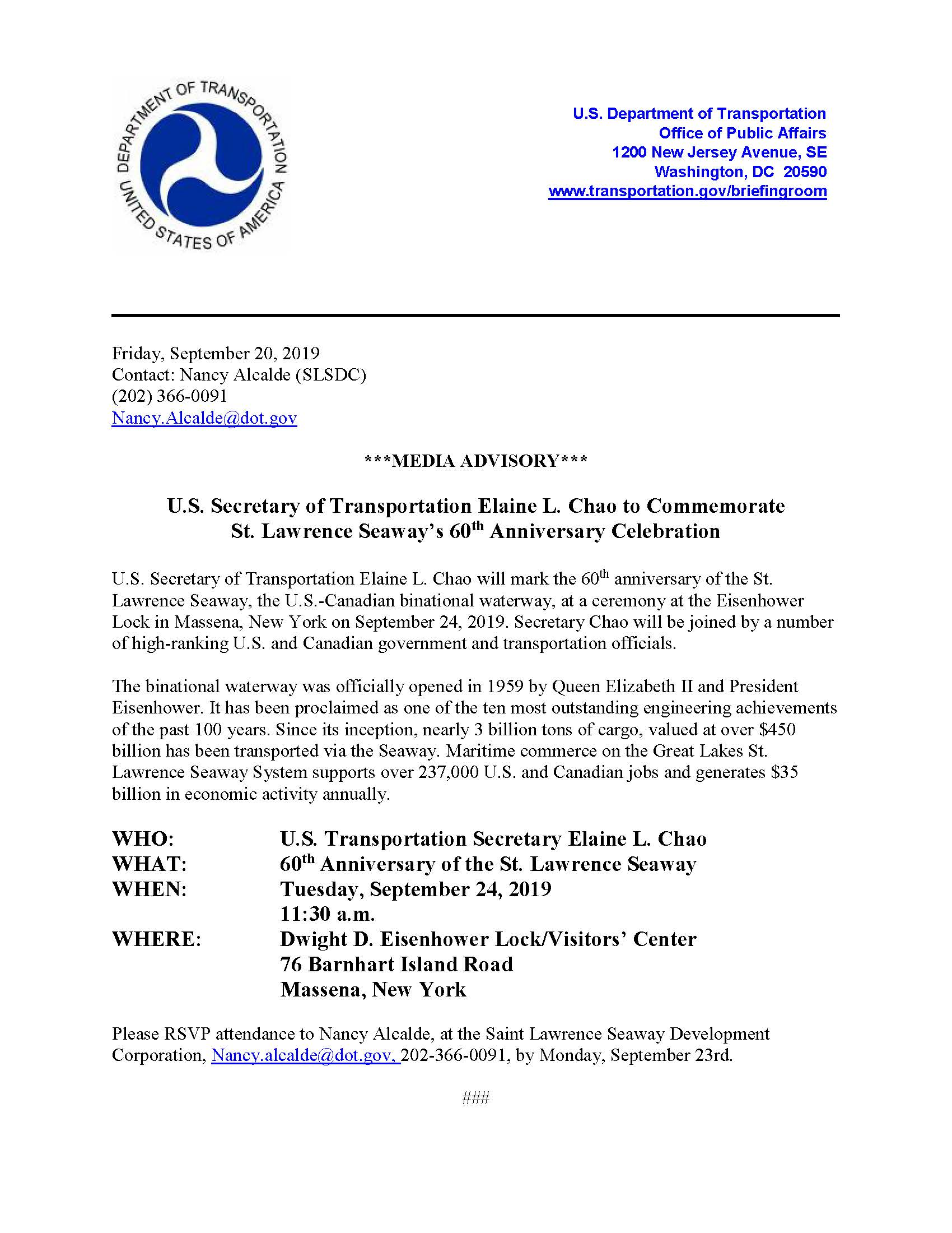 U.S. Secretary of Transportation Elaine L. Chao to Commemorate St. Lawrence Seaway's 60th Anniversary Celebration