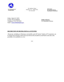MEDIA ADVISORY - RESTRICTION OF RECREATIONAL ACTIVITIES